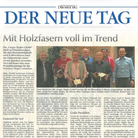 Zeitungsausschnitt Jahresauftakt Ziegler Erden