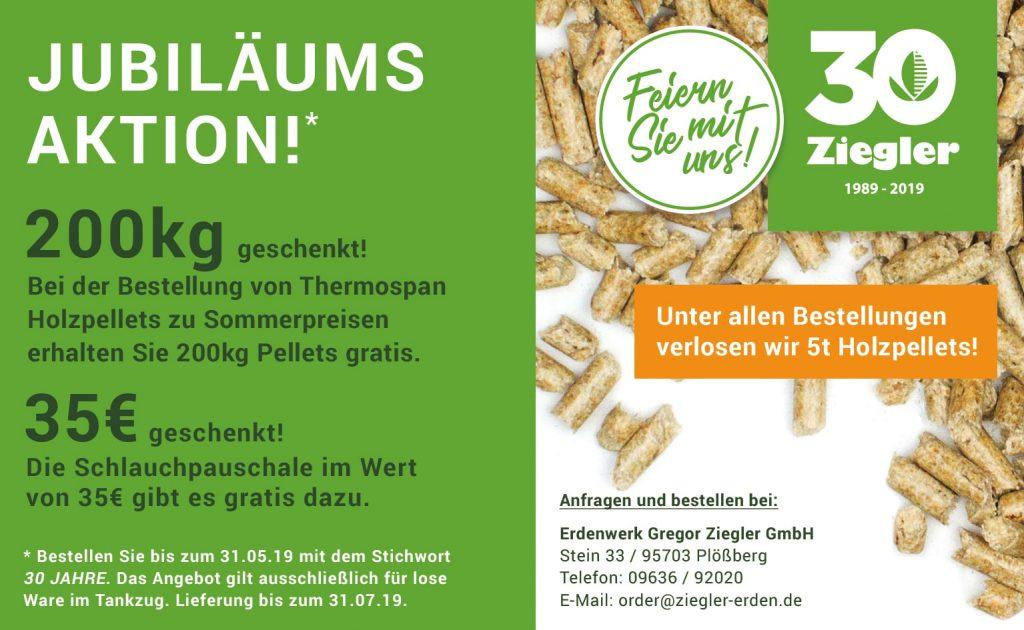 Holzpellets Jubiläumsaktion Gregor Ziegler GmbH